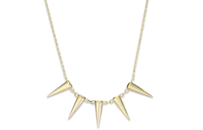 Light Weight Gold Necklace Designs - 16. Five Spikes Frontal Necklace