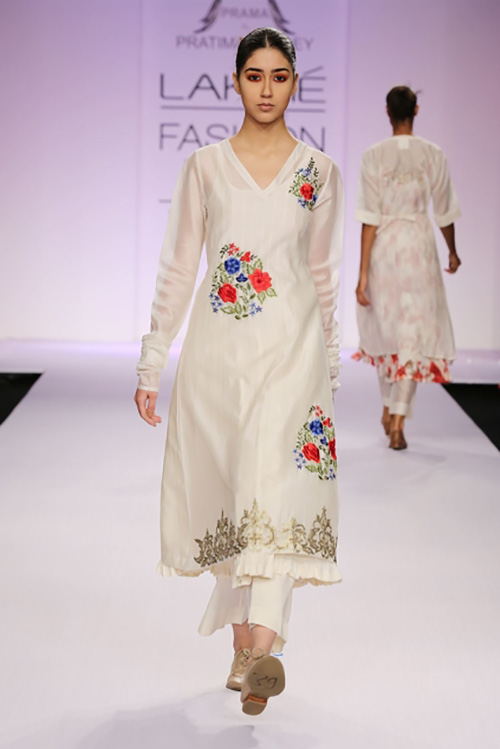 White Thread Work Salwar With Straight Cut Palazzos