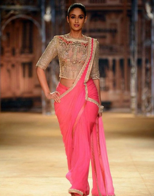 Glossy Pink Lace And Georgette Saree With Sequin Blouse