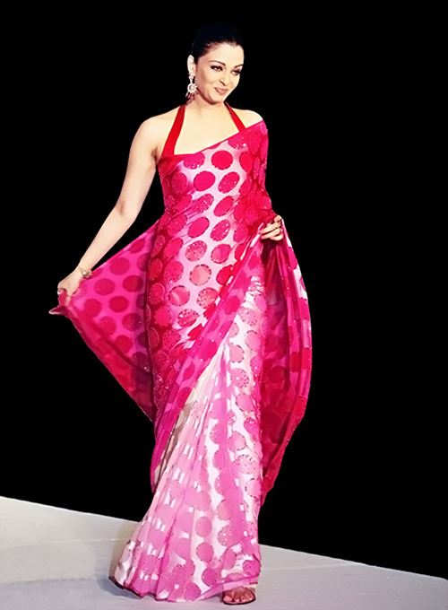 Glossy Pink Satin Saree With Halter Neck Blouse