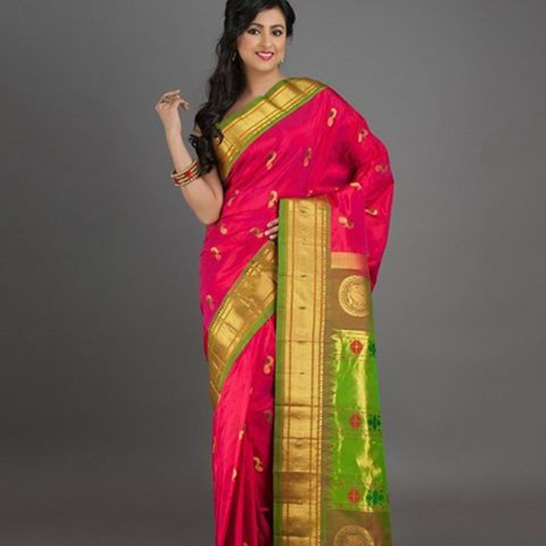 Pink And Parrot Green Bordered Saree