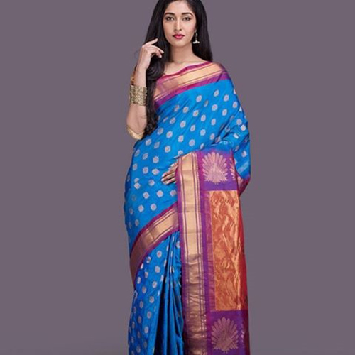 Ice Blue And Purple Paithani Saree With Peacock Design