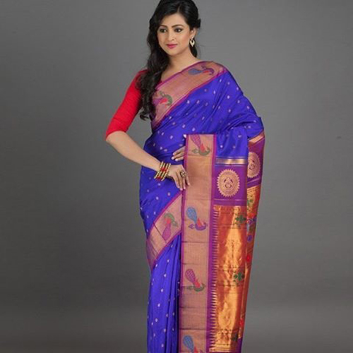 Paithani Saree Indigo Blue With Peacock Monogram
