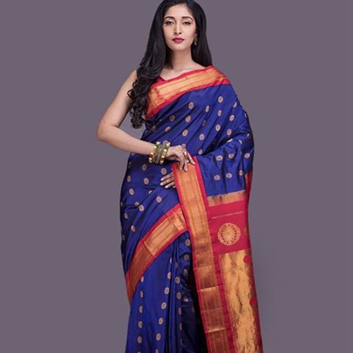 Paithani Ink Blue Saree With Polka Dots Design