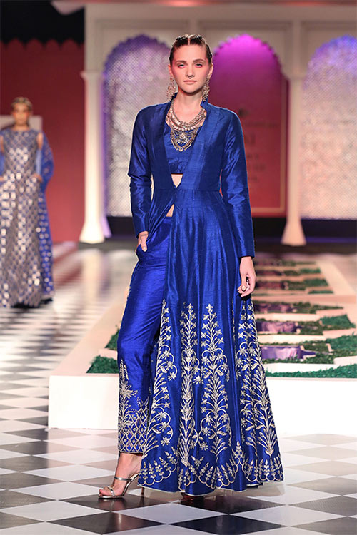 Jacket Style Long Side Slit Salwar With Straight Pants