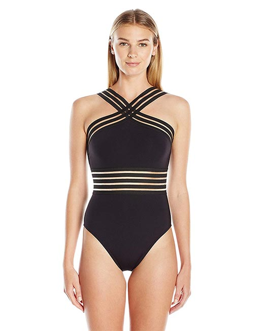 Kenneth Cole High Neck Banded One Piece For Hour Glass Body Type