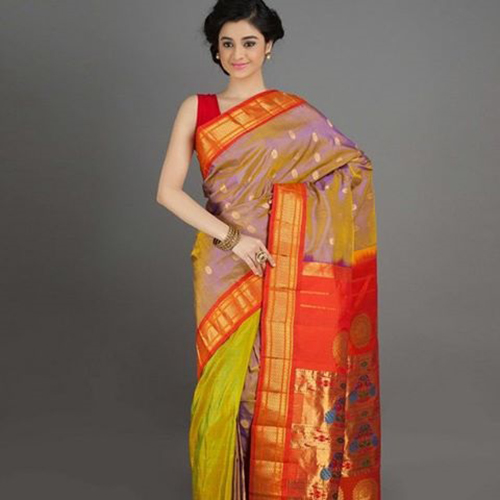 Light Blue Saree And Orange Pallu Paithani Design