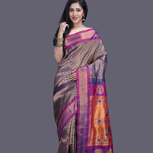 Lilac, Gold And Purple Zari Paithani Saree