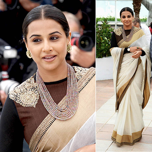 Off-white Cotton Saree With Black Full Sleeves Embroidered Blouse
