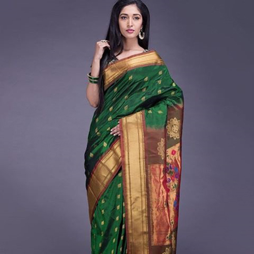 Paithani Olive Green And Gold Lotus Saree Design