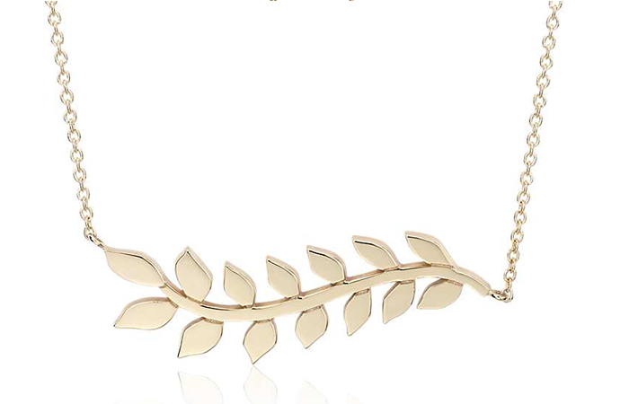 Light Weight Gold Necklace Designs - 14. One Leaf Branch