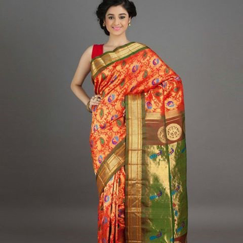 Orange Saree With Paisley Design And Real Zari