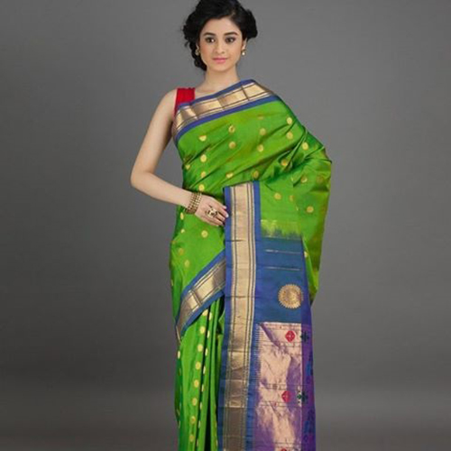 Paithani Saree Designs Parrot Green And Powdered Blue Polka Dots Design