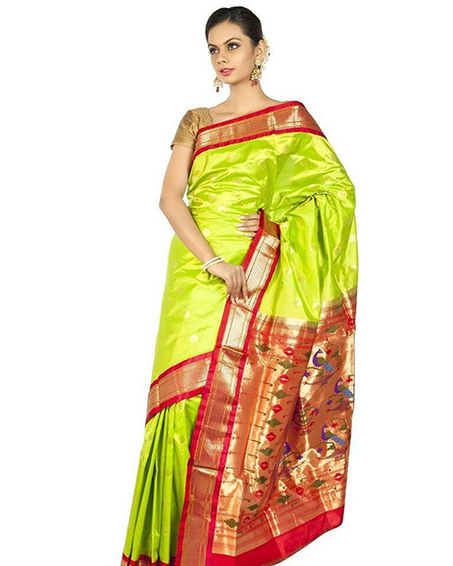 Parrot Green Body And Orange Embellished Pallu Paithani Saree Design