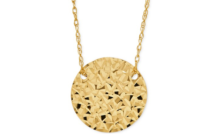 Light Weight Gold Necklace Designs - 19. Patterned Disk Pendant