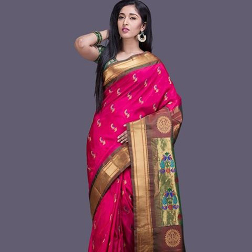 Pink Paithani Saree With Taupe Colored Pallu