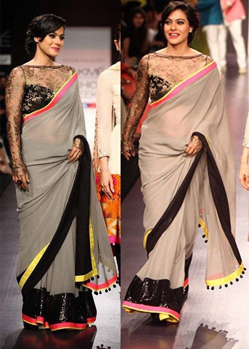 Plain Gray And Black Bordered Saree With Chantilly Lace Blouse