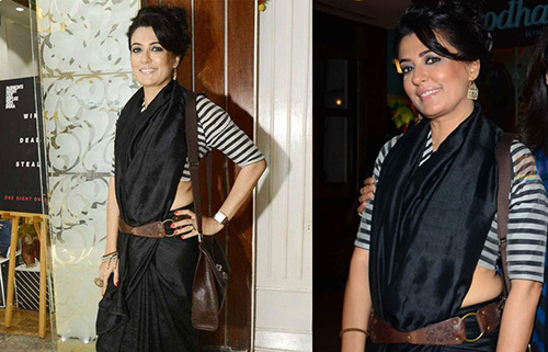 Pure Black Chiffon Belted Saree With Zebra Stripes Blouse