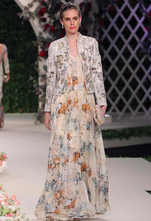 Raw Silk Floral Anarkali Dress