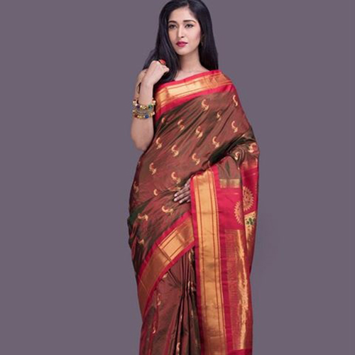 Sepia Brown And Crimson Red Paithani Saree