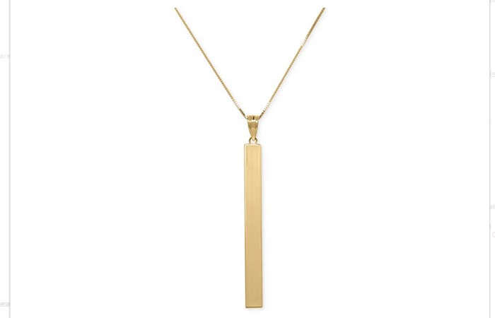 Light Weight Gold Necklace Designs - 15. Square Tube Pendant
