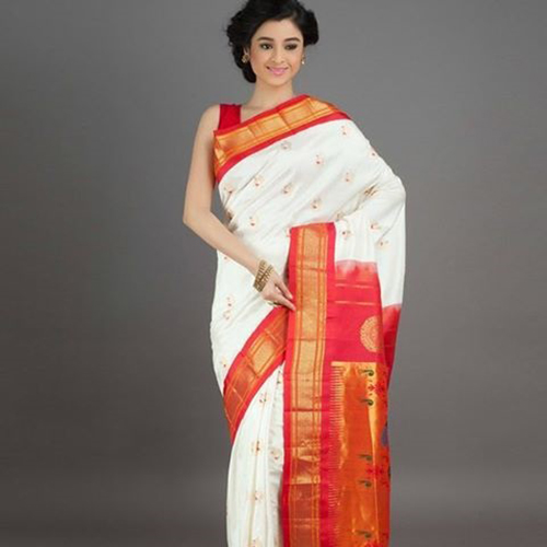 White And Chilli Red Saree With Oblique Border