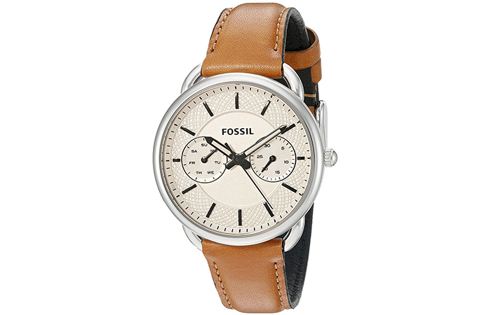Amazing Fossil Watches For Indian Women - 2. Analog White Dial Watch With Tan Strap