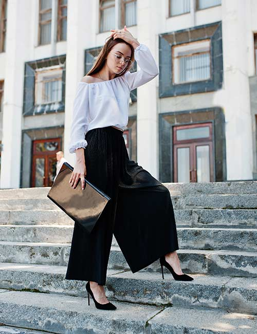 Black Palazzos And Off-Shoulder Top