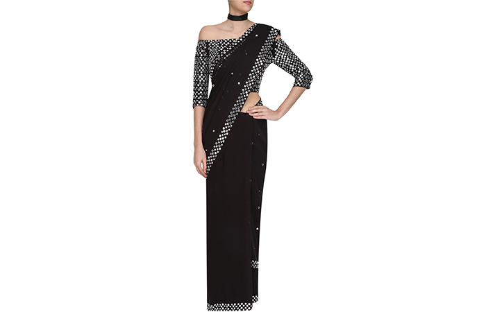 Best Georgette Sarees For Women In India - 19. Black Saree With Silver Foil Embellishments