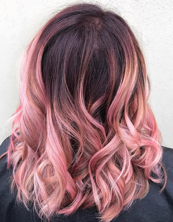 40 ombre hair color and style ideas blush pink ombr on medium length curls urmus