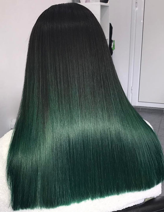 Bottle-Green-Ombre-On-Blunt-Cut-Ends