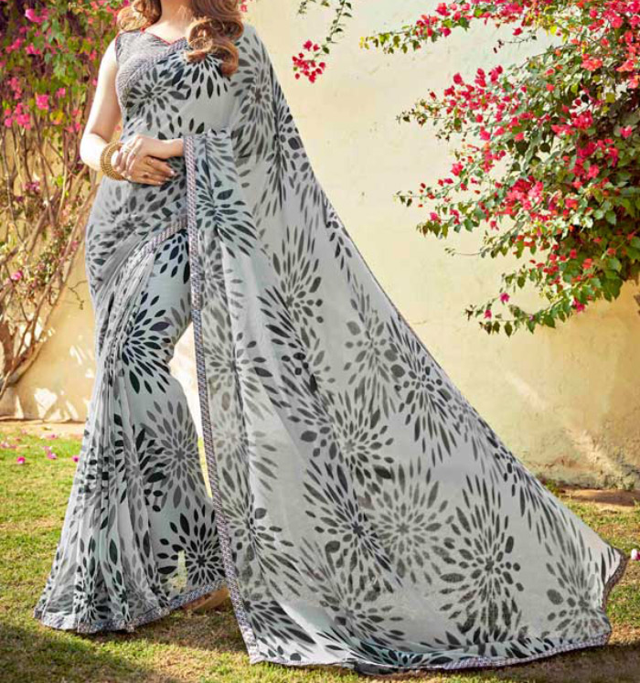 Best Georgette Sarees For Women In India - 11. Casual Gray Georgette Saree