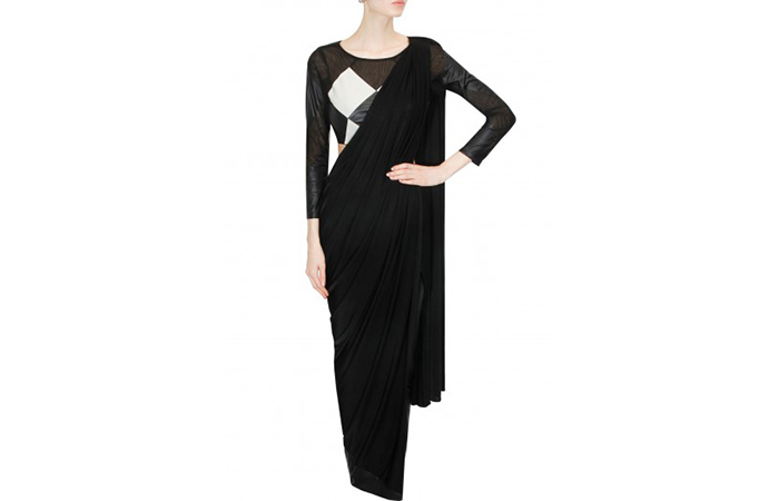 Best Georgette Sarees For Women In India - 3. Charcoal Black Saree With Cigarette Pants