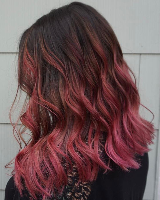 Dusty Pink Ombre On Blunt Edged Curls