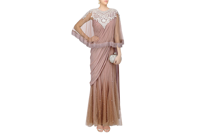 Best Georgette Sarees For Women In India - 20. Georgette And Tulle Saree In Taupe With Cape Blouse