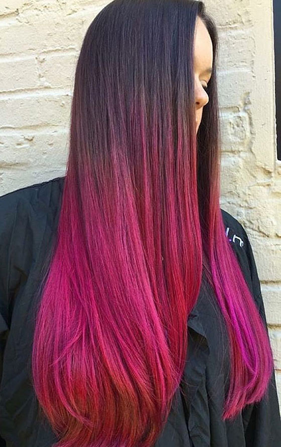 Magenta-Ombré-On-Straight-Long-Hair