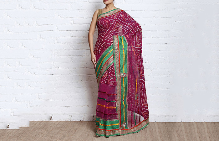 Best Georgette Sarees For Women In India - 12. Magenta Pink Bandini Saree With Green Applique Work