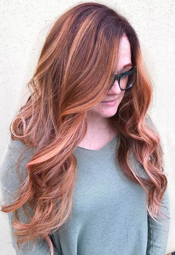 Mahogany-Apricot-Ombré-On-Long-Layers