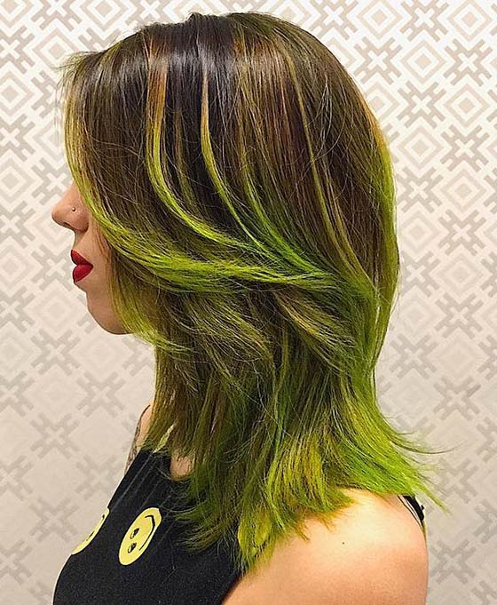 Neon-Green-Ombré-On-Layered-Hair