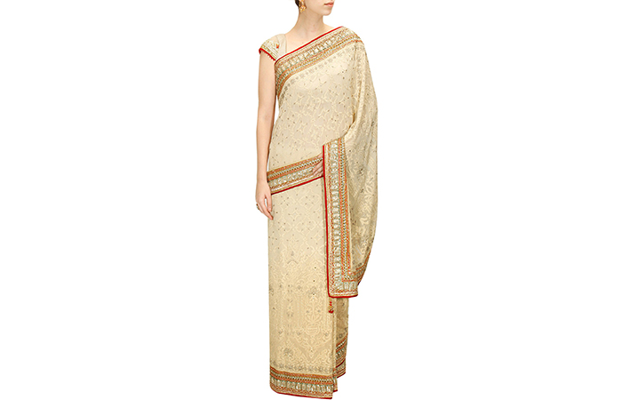 Best Georgette Sarees For Women In India - 18. Off-White Erku Embroidered Saree