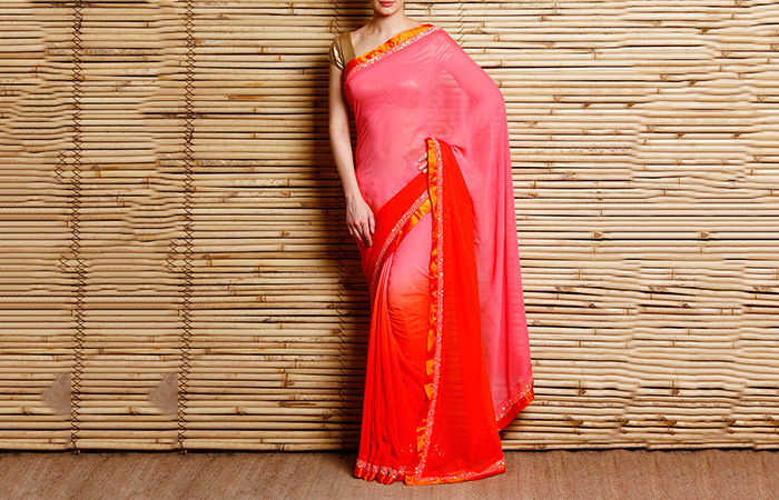 Best Georgette Sarees For Women In India - 14. Ombre Pink Saree With Burnt Orange Border