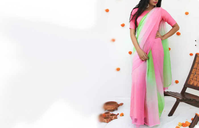 Best Georgette Sarees For Women In India - 17. Parrot Green And Baby Pink Saree