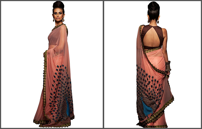 Best Georgette Sarees For Women In India - 9. Pastel Georgette Saree With Huge Peacock Motif