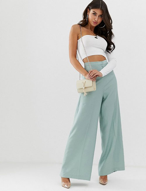 Powder Blue Palazzos With A Tube Top