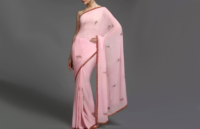 Best Georgette Sarees For Women In India - 16. Powder Pink French Knots Saree