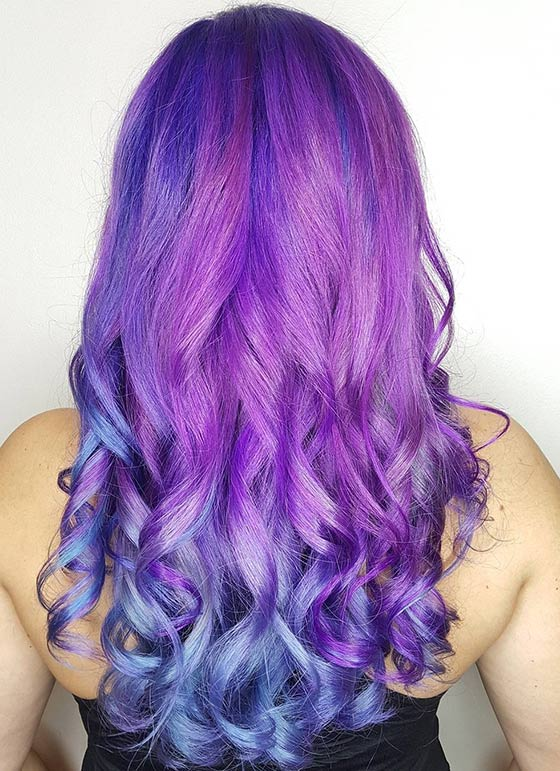 Purple-Mermaid-Ombré-On-Long-Hair