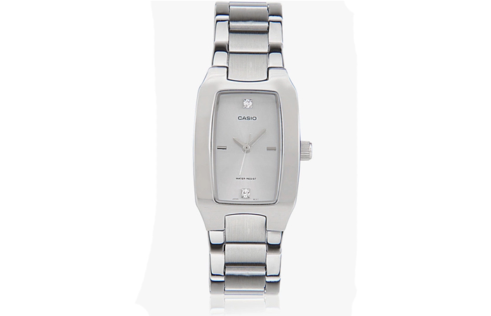 Best Selling Casio Watches For Women - 9. Rectangular Silver Analog Watch