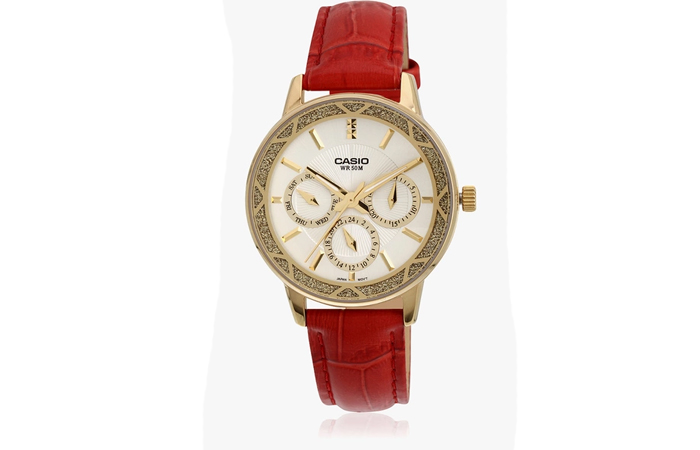 Best Selling Casio Watches For Women - 4. Red Leather Analog Watch