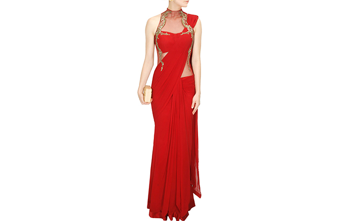 Best Georgette Sarees For Women In India - 4. Red Silk Georgette Saree Gown