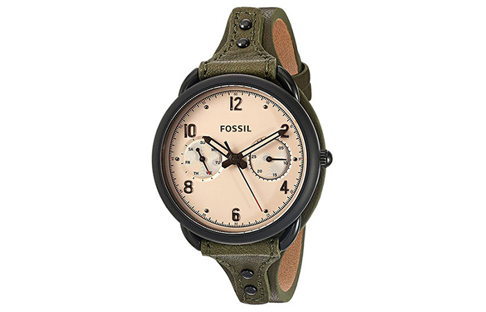 Best Fossil Watches For Indian Women - 8. Round Analog Watch In Black And Algae Green Strap